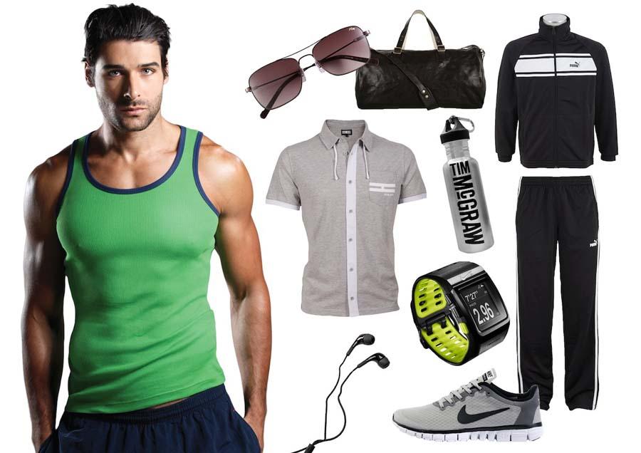 Accessoires vervollständigen die Sportbekleidung